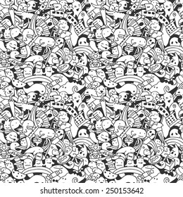 Crazy Doodle Characters Seamless Pattern