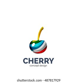 Vector creative abstract cherry fruit logo created with waves