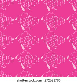 Vector creative abstract hand-drawn pattern of curved lines in pale pink and magenta colors