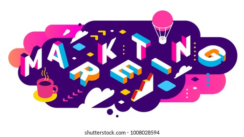 Vector creative abstract horizontal illustration of 3d marketing word lettering typography on bright color background. Marketing technology concept with decor element. Isometric design for promotion