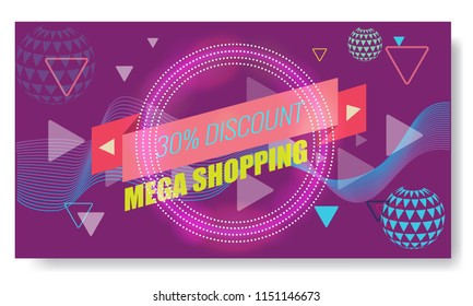 Vector Creative Abstract Memphis Banner or poster template layout. Bright arrow, ribbon and other Elements. Purple color.