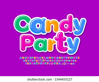 Vector creative banner Candy Party with bright Font. Colorful Kids Alphabet Letters, Numbers and Symbols