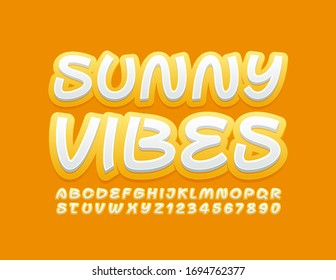 Vector creative banner Sunny Vibes. Yellow and White Alphabet Letters and Numbers. Modern trendy Font