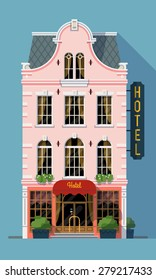 Vector creative beautiful and detailed luxury hotel building facade isolated | Tourism industry item expensive hostel building facade