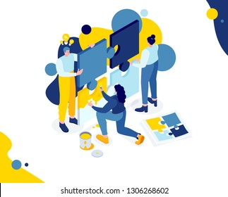 Vector creative business illustration. abstract characters people hold in hands puzzle. Metaphor of team work on a startup project. vector stylish flat colorful isometric
