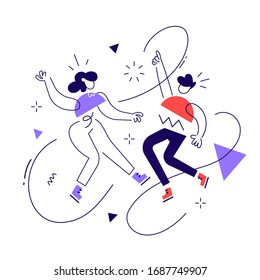 Vector creative business illustration of geometric successful people on white background. Team of happy man and woman with abstract element. Flat line art style design of people teamwork for banner