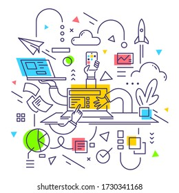 Vector creative business illustration of man hand with laptop and paper document on white background. Startup multitask manager concept. Flat line art style design of work man for web, poster, banner
