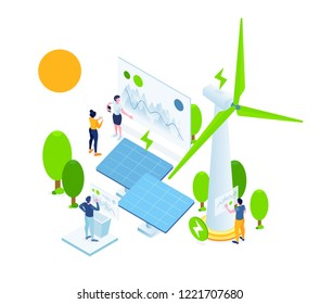 Vector creative business illustration. people are working on alternative green energy. ecological extraction of energy using solar solar panels, wind windmills. creative power plants in trend flat iso