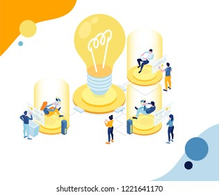 Vector creative business illustration. workflow to create ideas. teamwork on the project and analysis of internet data. Modern and futuristic technologies in design concept. trend illustration