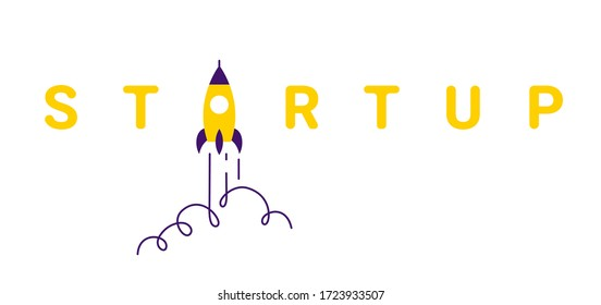 Vector creative business illustration of yellow fly up spaceship and word startup on white color background with cloud. Flat line art cartoon style idea design for startup web banner, poster, print