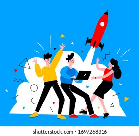 Vector creative business illustration of young happy man and woman team with startup spaceship on blue background with cloud. People launch rocket from laptop. Flat cartoon style design of teamwork