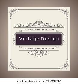 Vector Creative Card Template Design, Luxury Vintage and Retro Brown Invite Cover