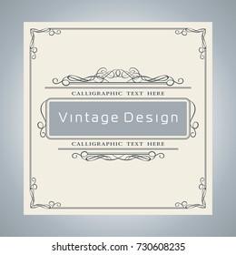 Vector Creative Card Template Design, Luxury Vintage and Retro Blue Invite Cover