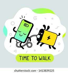 Vector creative cartoon illustration of happy smart phone character with connected powerbank. Line art doodle style graphic design for web, site, banner, poster, sticker