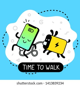 Vector creative cartoon illustration of happy charging smart phone character walking with connected dog powerbank. Line art doodle style graphic design for web, site, banner, poster, sticker