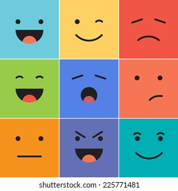 Vector creative cartoon style smiles with different emotions.