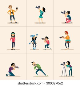 Vector creative character design people posing while photographer taking photos