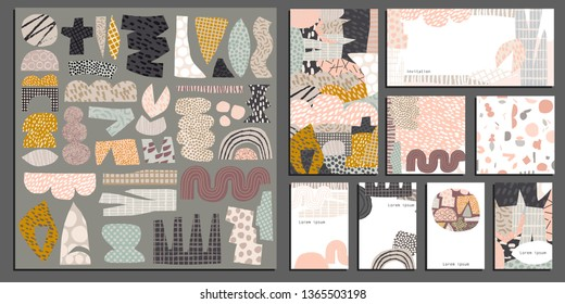 Vector creative collage collection for stationery background