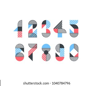 Vector creative color geometry shapes'  numerals.
