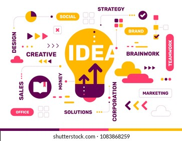 Vector creative color illustration of creative idea with light bulb and tag cloud on white background. Idea technology concept. Flat style design with light bulb for create idea and brainstorm theme