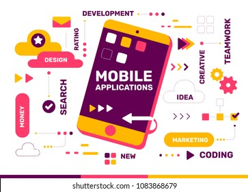 Vector creative color illustration of mobile application with phone and tag cloud on white background. Mobile application development concept. Flat style design with phone for development of banner
