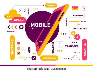 Vector creative color illustration of mobile transfer with phone and tag cloud on white background. Mobile payment technology concept. Flat style design with phone for mobile transfer theme