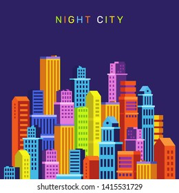 Vector creative colorful illustration of business night isometric city on dark background with text. 3d style graphic nightlife design for web, site, banner, poster
