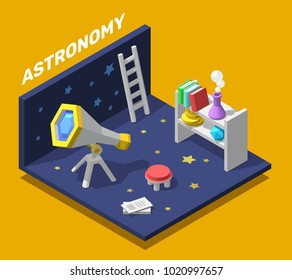 Vector creative colorful illustration of isometric magical astronomy room. Fantasy interior of workplace with telescope. 3d style design of work place for web, site, banner
