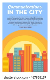 Vector creative colorful illustration of modern bright big city with header communications in the city and text on blue background. City communication poster template. Flat style city design