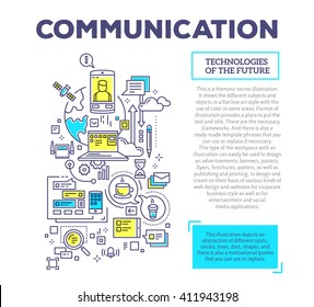 Vector creative concept illustration of communication with header and text on white background. Communication technology template. Hand draw flat thin line art style design for social media theme