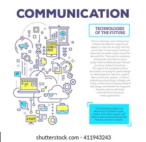 Vector creative concept illustration of communication with text on white background. Communication technology template. Hand draw flat thin line art style monochrome design for online marketing theme