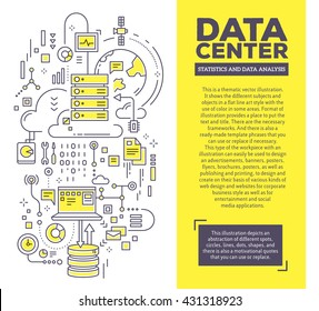 Vector creative concept illustration of data center with header and text. Server technology composition template background. Hand draw flat thin line art style monochrome design for server technology