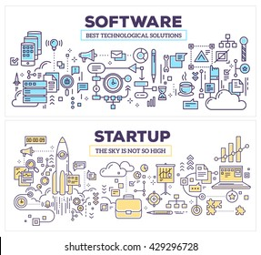 Vector creative concept illustration of software and technology startup. Horizontal composition template. Hand draw flat thin line art style design for application development, startup technology