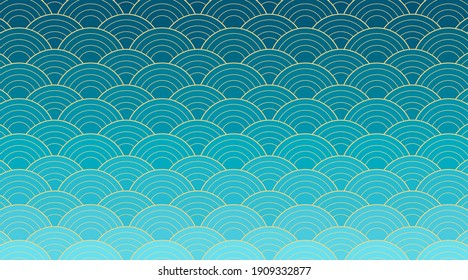Vector creative design with Japanese wave background. Seigaiha - traditional Asian art heritage . Blue gradient circles with gold lines. Pattern as symbol of water and ocean