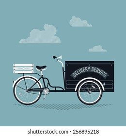 Vector creative detailed illustration on stylish retro looking cargo delivery bicycle cart   Ecological delivery vehicles transport service. Side view, isolated