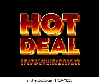 Vector creative emblem Hot Deal with Fire 3D Font. Burning Alphabet Letters and Numbers