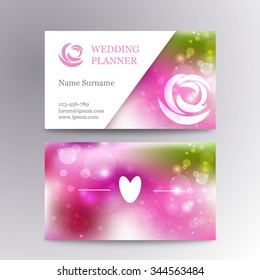 Vector creative feminine business card template mockup with  logo flower. Suitable for wedding planners or florist owners