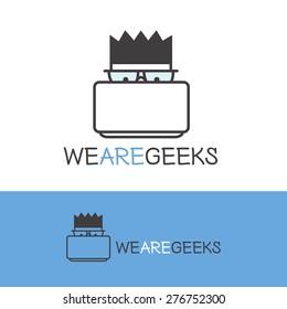 Vector creative geek logotype. Modern outline computer nerd logo.