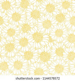 Vector creative hand-drawn abstract seamless pattern of stylized sunflowers flowers in yellow and white colors
