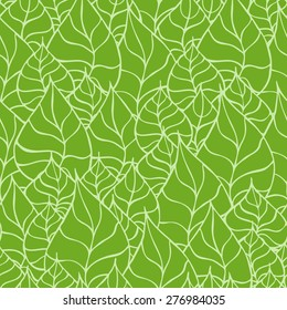 Vector creative hand-drawn abstract seamless pattern of stylized leaves in shades of green