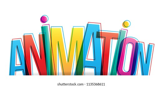 Vector creative illustration of Animation word