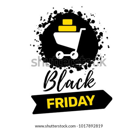 8f770f117ff7 Vector creative illustration of black friday sale inscription typography  with shopping trolley on white color background