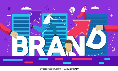 Vector creative illustration of business brand word lettering typography with line icons