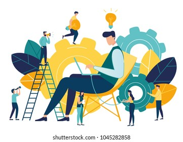 Vector creative illustration of business graphic, company is engaged in joint construction of column graphs, rise career to success, abstract head of person filled with ideas thoughts and analytics