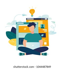 Vector creative illustration of business graphics, designer freelancer conducts site analytics. and makes a creative design project by developing a concept. design web graphics design flat person sear