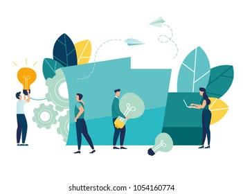 Vector creative illustration of business graphics, the company is engaged in joint search for ideas, abstract person's head, filled with ideas of thought and analytics, replacing old with new