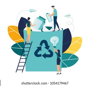 Vector creative illustration of business graphics, the employee is engaged in the processing of garbage, flat colored icons, protection of the environment, small people are throwing garbage