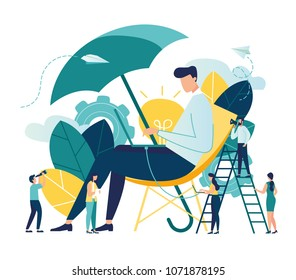 Vector creative illustration of business graphics, abstract head of a man, filled with ideas of thought and analyst, a man on vacation on the beach engaged in work online
