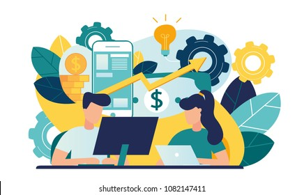 Vector creative illustration of business graphics, the company is engaged in teamwork, raising a career to success, the abstract person's head, filled with ideas of thought and analytics, genius ideas