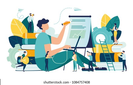 Vector creative illustration of business graphics, distance learning, online courses and business, education, online books and tutorials, preparation for exams, home schooling